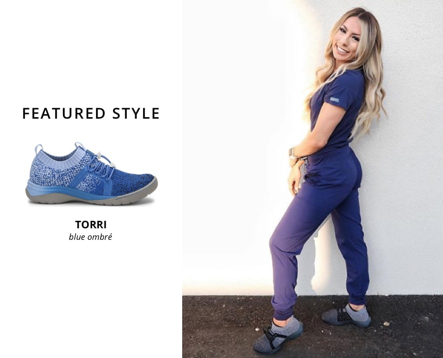 Featured style: Align Torri in blue ombré. Nurse wearing Align Torri in black ombré.