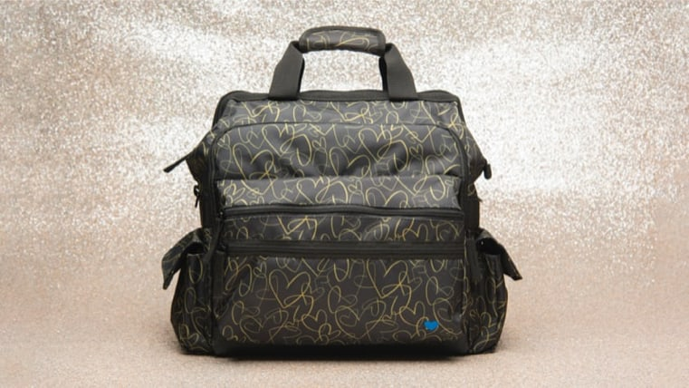 Featured style: Ultimate Nursing Bag shown in gold hearts (gold hearts on black)